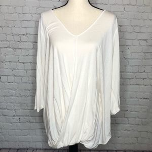 Lane Bryant cream 3/4 sleeve blouse draped front